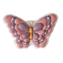2 papillons en sucre rose et mauve