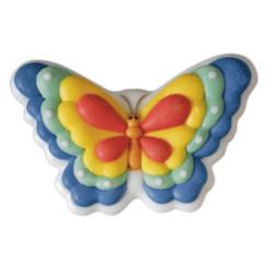 2 papillons en sucre bleu et jaune