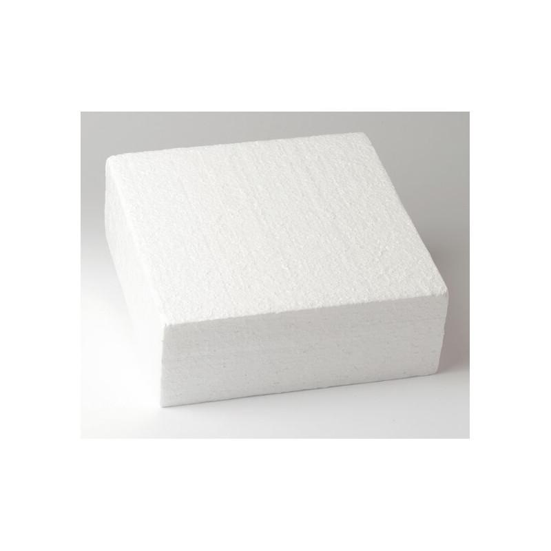 DUMMY Cake CARRÉ polystyrène de 25cm, hauteur 10cm
