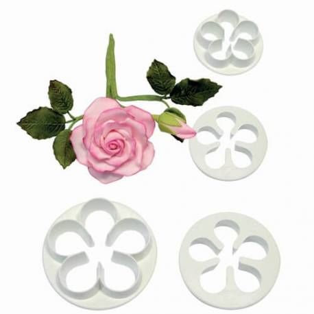 Set of 4 cutter for pink flower 5 petals PME