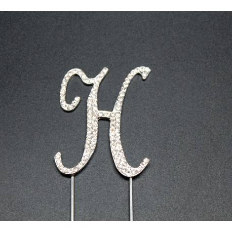 Letter H in rhinestone for cakes