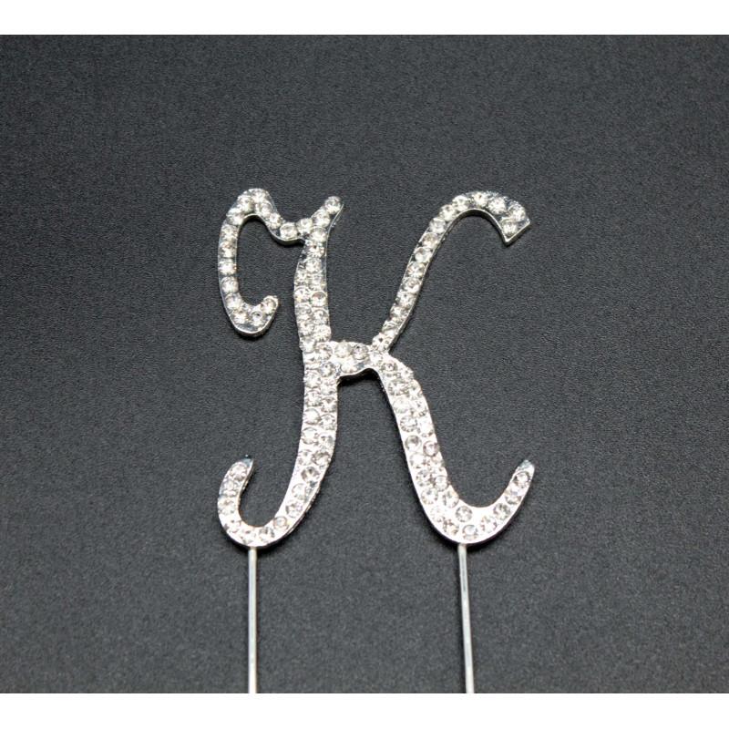 Letra K en strass para pasteles