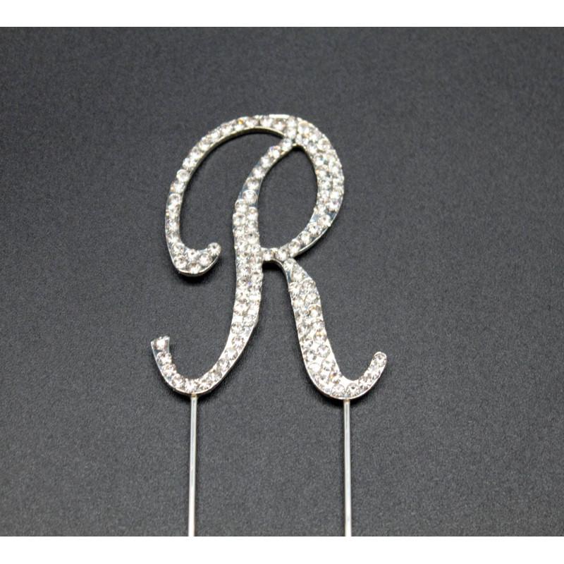 Letra R en strass para pasteles