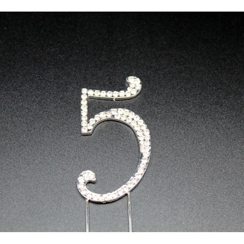 Número 5 en strass para pasteles