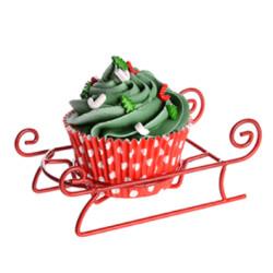 Présentoir à Cupcakes métal - Traineau de noël rouge