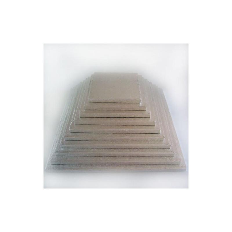 Drum SQUARE cake board thick silver 38cm