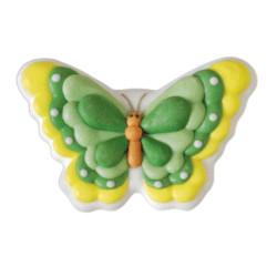 2 papillons en sucre vert et jaune