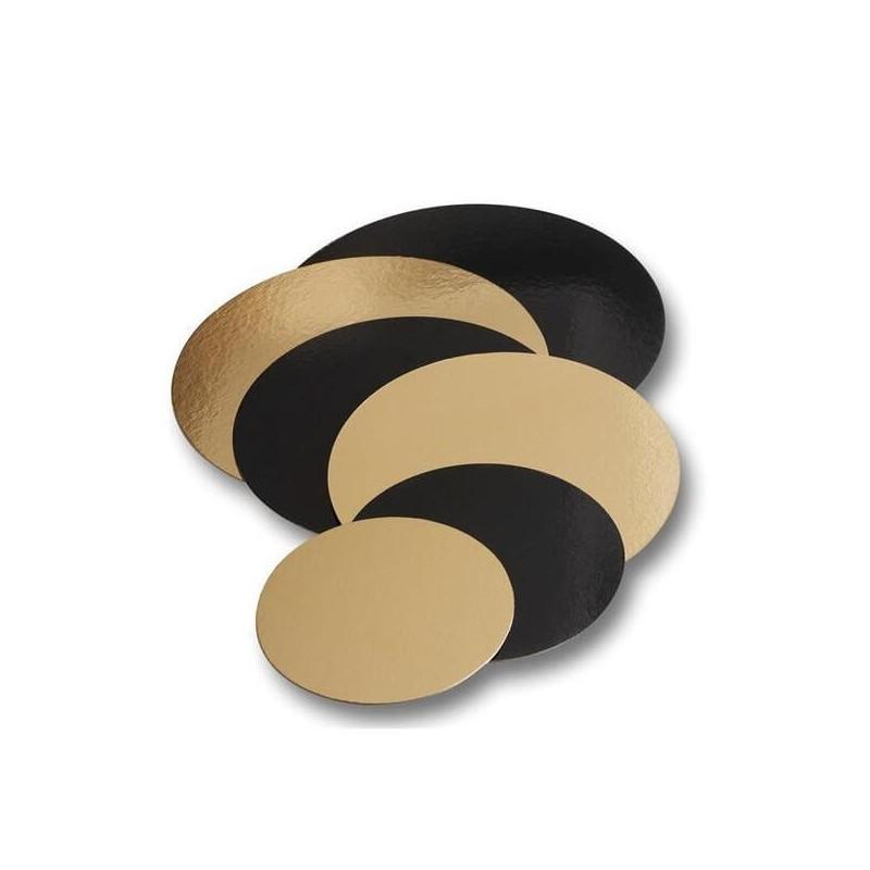 5 Bases redondas de Cartón oro y negras 16cm