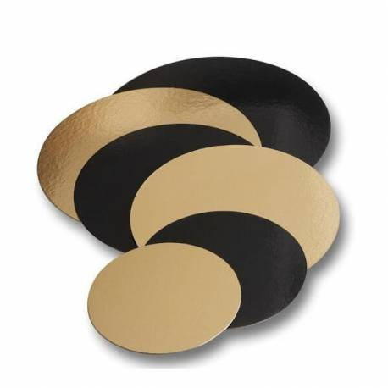 5 Cartons pâtissiers ronds or et noir 32cm