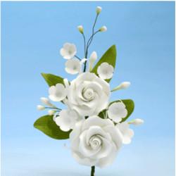 Branche de 2 roses Blanches et ses fleurs