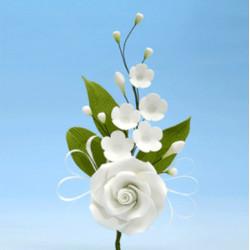 Branche de rose blanche