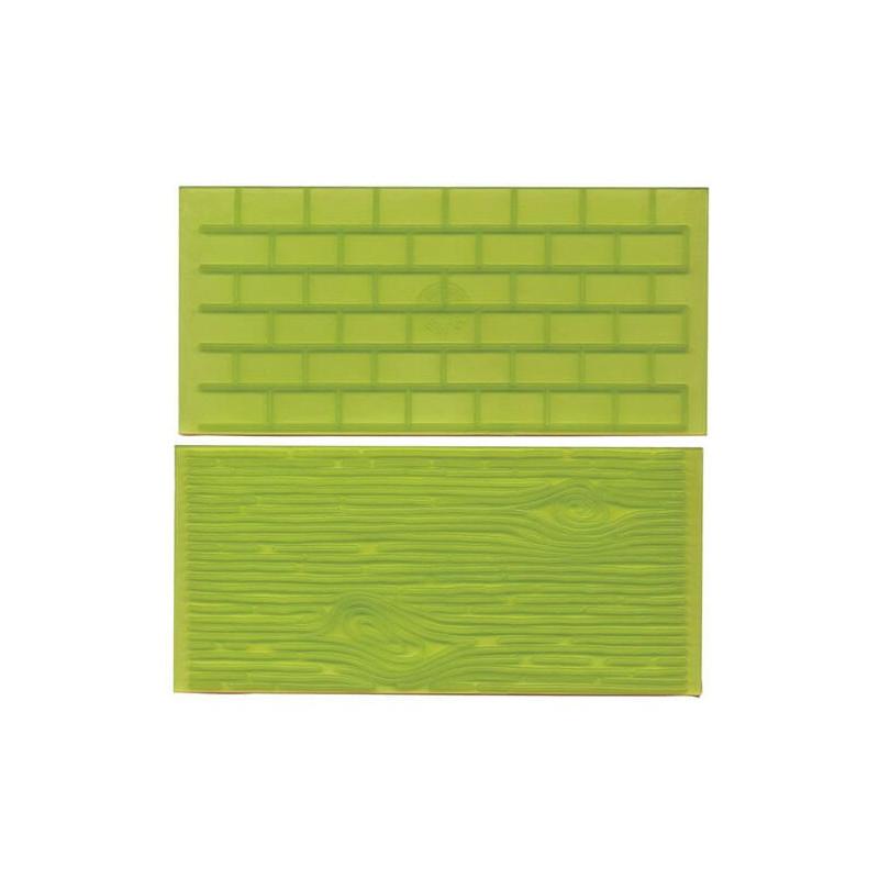 2 Tapis texture Mur de briques et Écorce d'arbre FMM