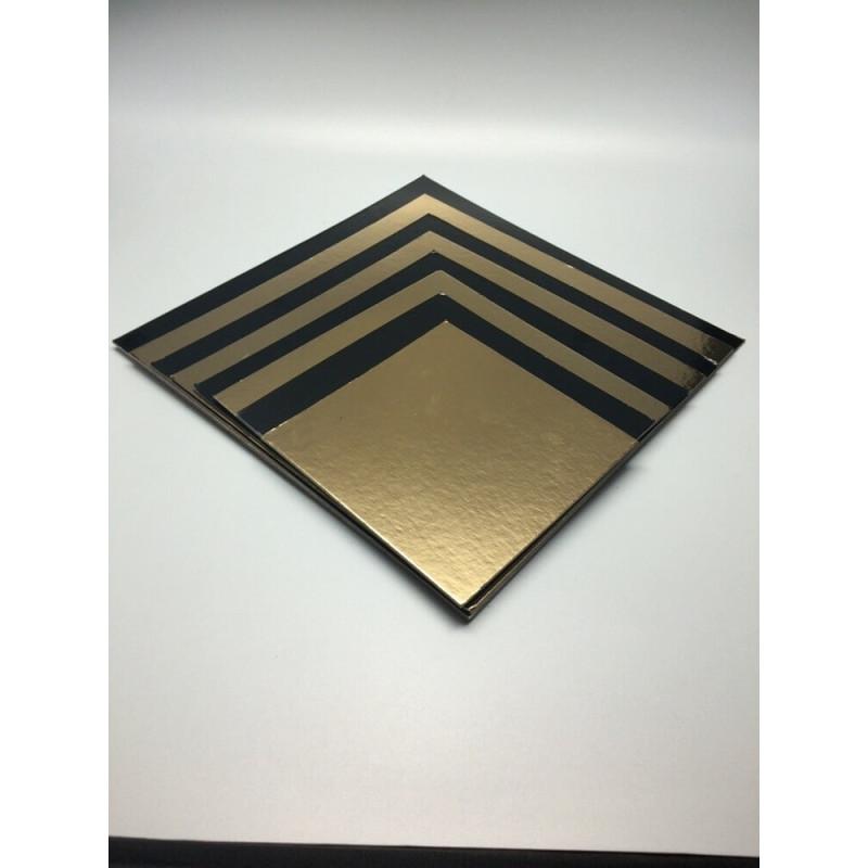 5 Bases cuadradas de Cartón oro y negras 14cm