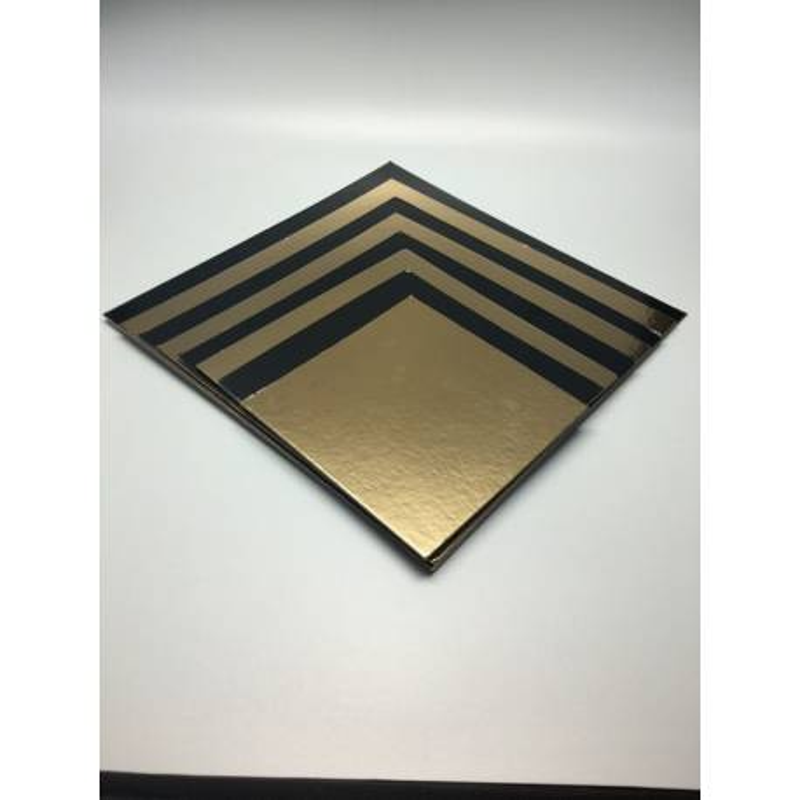 5 Bases cuadradas de Cartón oro y negras 16 cm