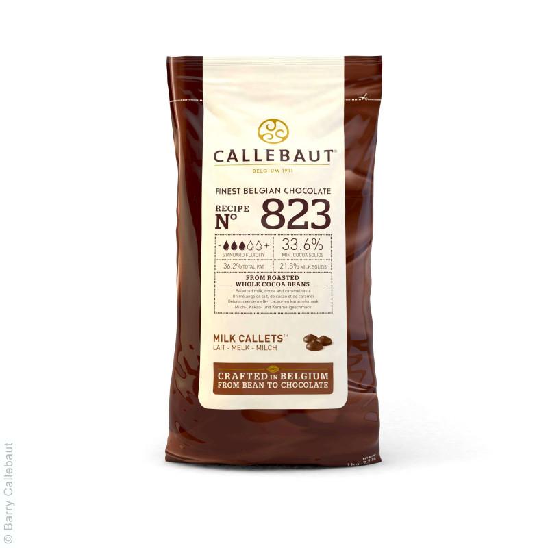 Chocolate con leche 33,5% en galletas 1kg de Callebaut 823