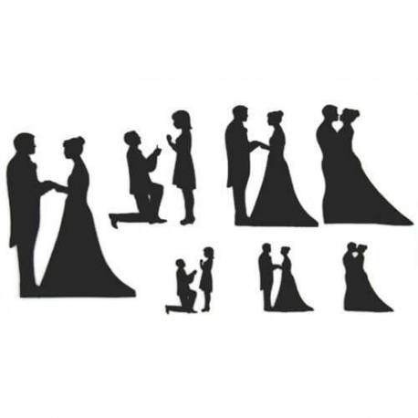Patchwork cutter wedding and engagement silhouettes