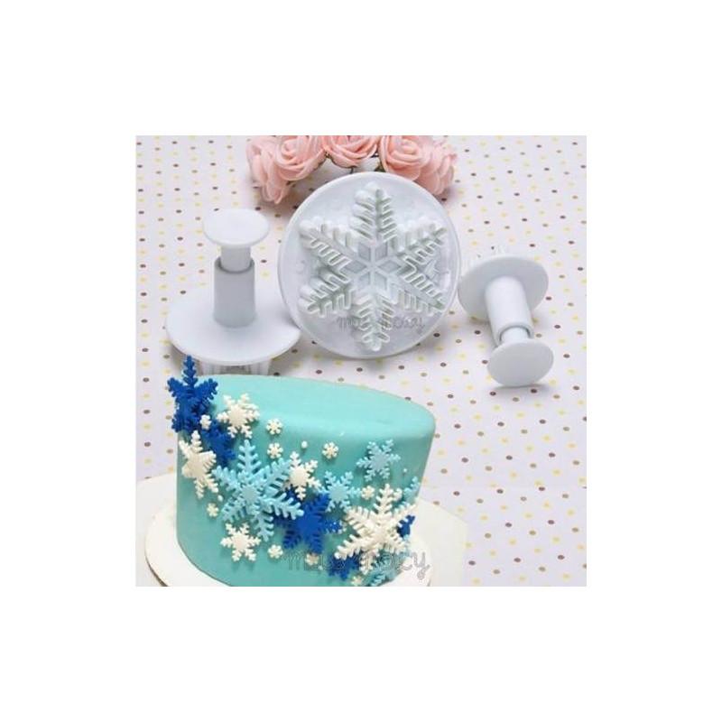 Cortadores con expulsor huella de copo de nieve (3Pcs) - motivo 2