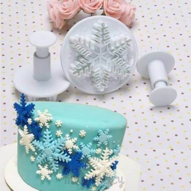 Emporte pièce Flocon de neige avec empreintes - 3 tailles