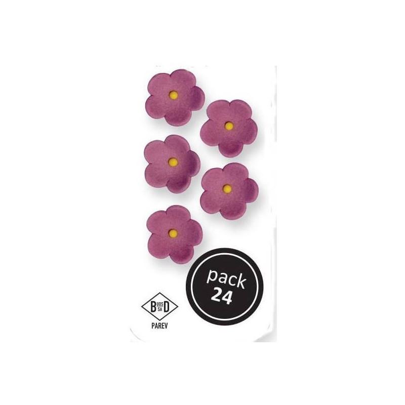 24 flores grandes de color lila - 25mm