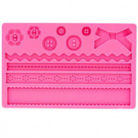 Silicone mold Sewing, Buttons and Lace Frieze