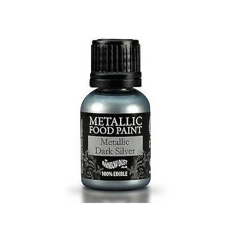 Metallic edible Paint DARK SILVER colour Rainbow Dust