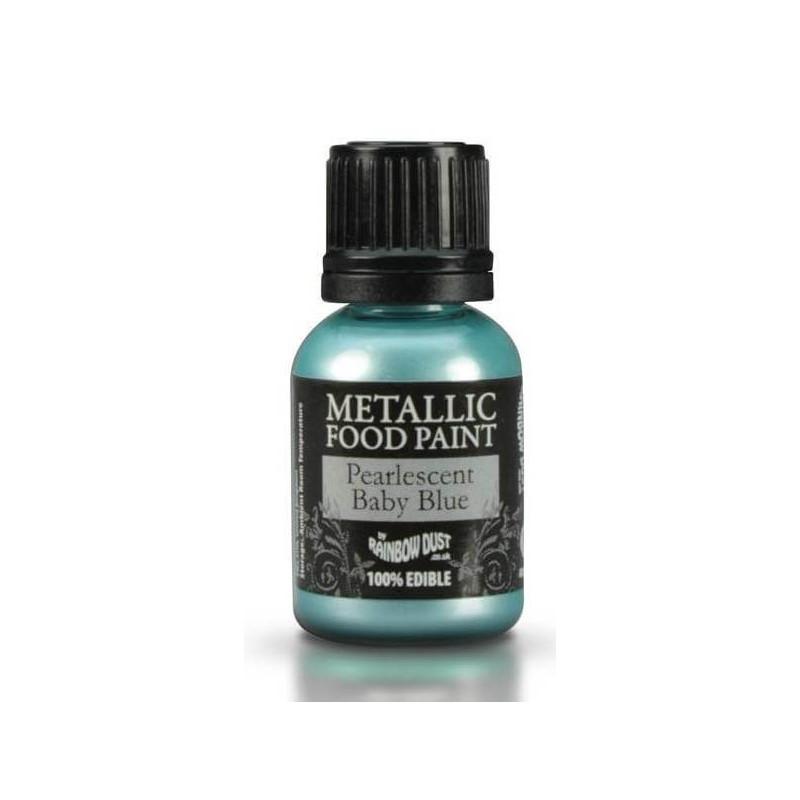 Peinture alimentaire métallique BLEU BÉBÉ NACRÉ Rainbow Dust