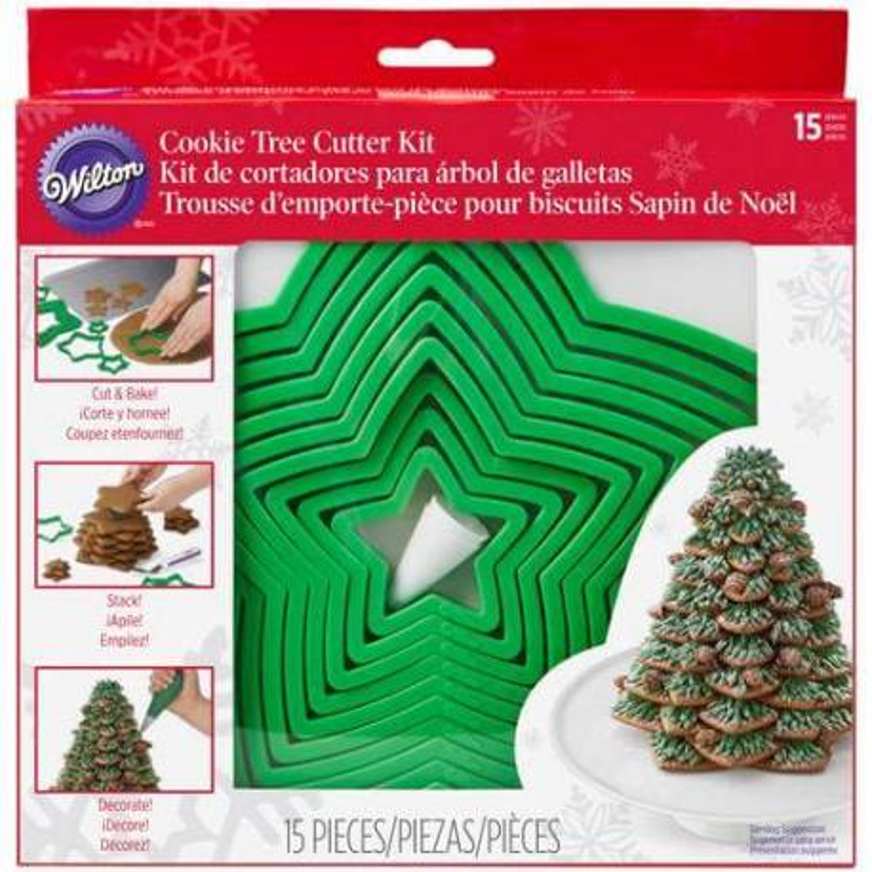 Kit Cortadores Árbol de Navidad 3D en Galleta