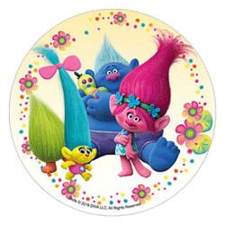 Les Trolls Unleashed Disc - pelo atado con fondo rosa