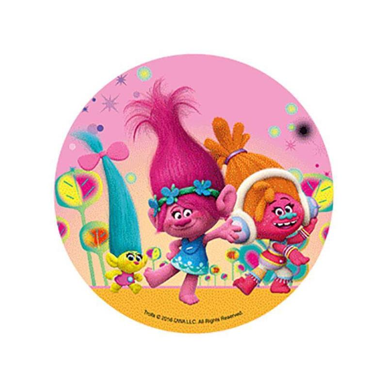Disco en papel de oblea - 2 Trolls y un bebé amarillo con fondo rosa