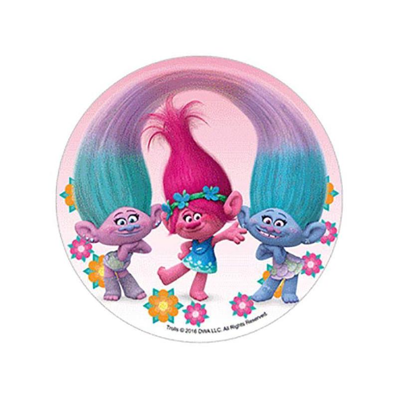 Disque en sucre Les Trolls - cheveux relié fond rose