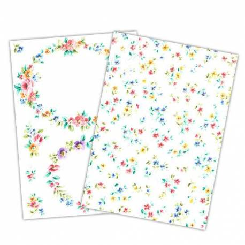 Wafer Paper imprimé motif fleurs colorées