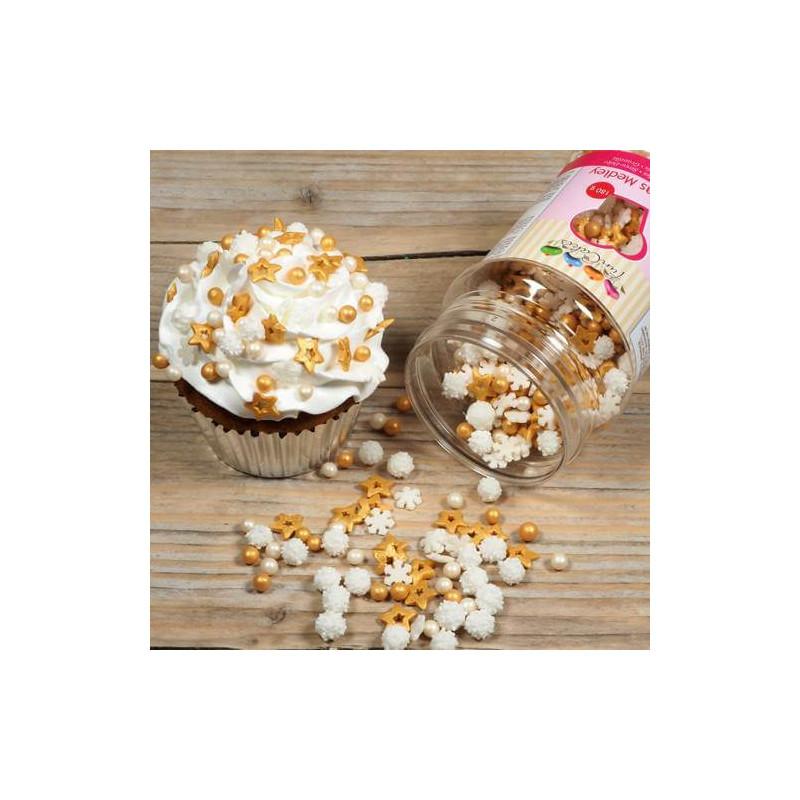 Confettis Sprinkles NOEL Flocons étoiles et perles en sucre 180G