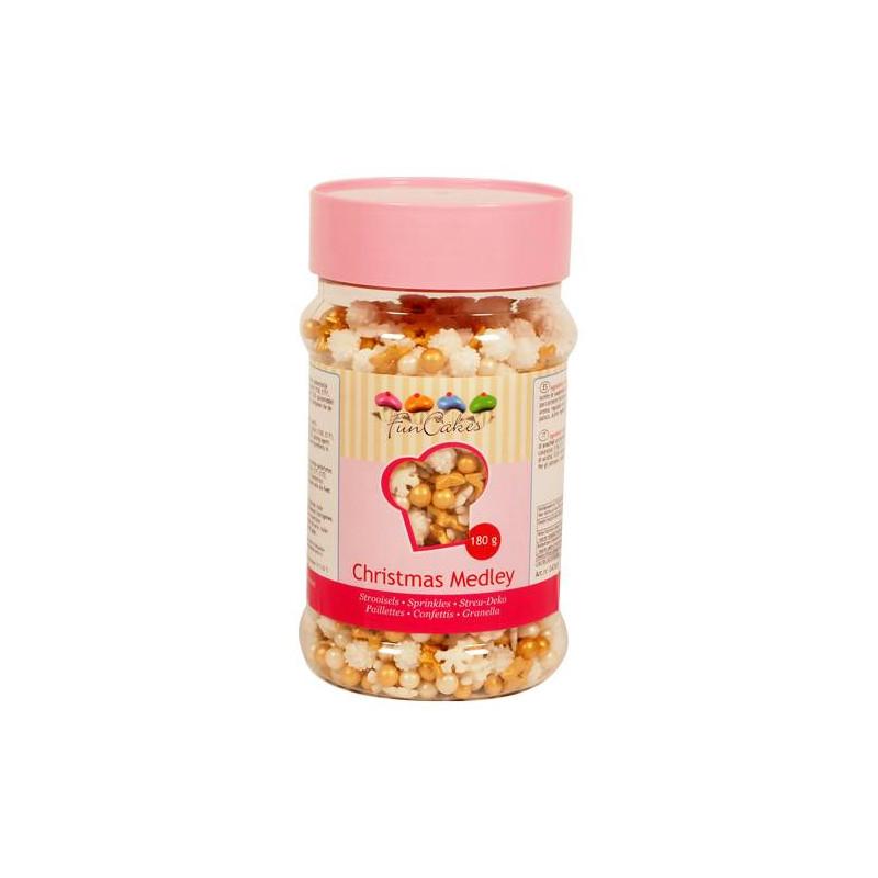 Confettis Sprinkles NOEL Flocons étoiles et perles en sucre