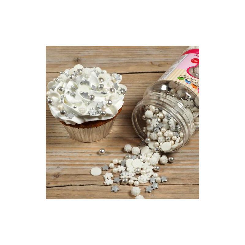 Confettis Sprinkles HIVERS Flocons étoiles et perles en sucre