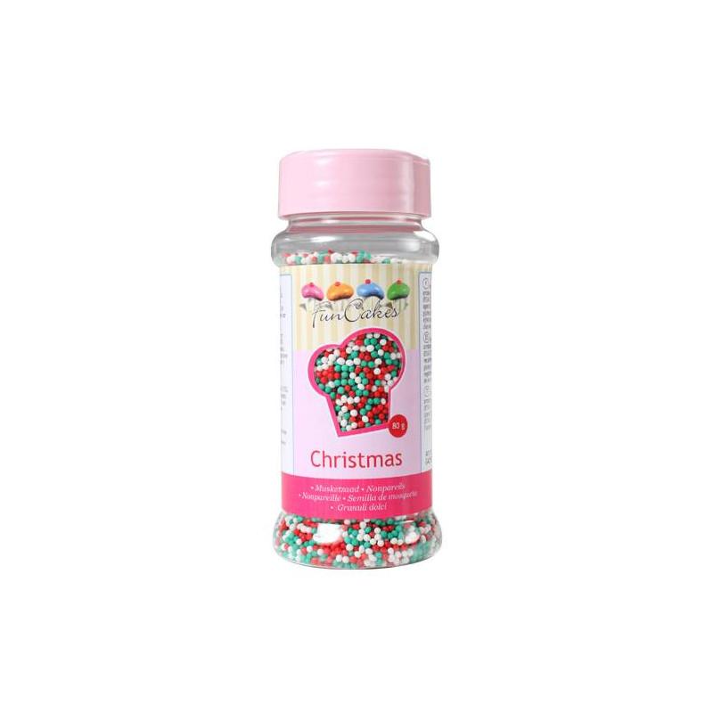 Microperlas de azúcar en los colores de la Navidad