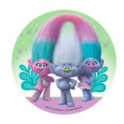 Disco de azúcar Les Trolls - 3 Trolls con fondo verde