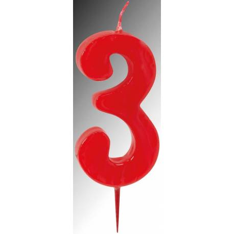 Bougie ROUGE Chiffre 3