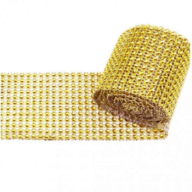 Cinta de diamantes de imitación oro 12cm x 1m