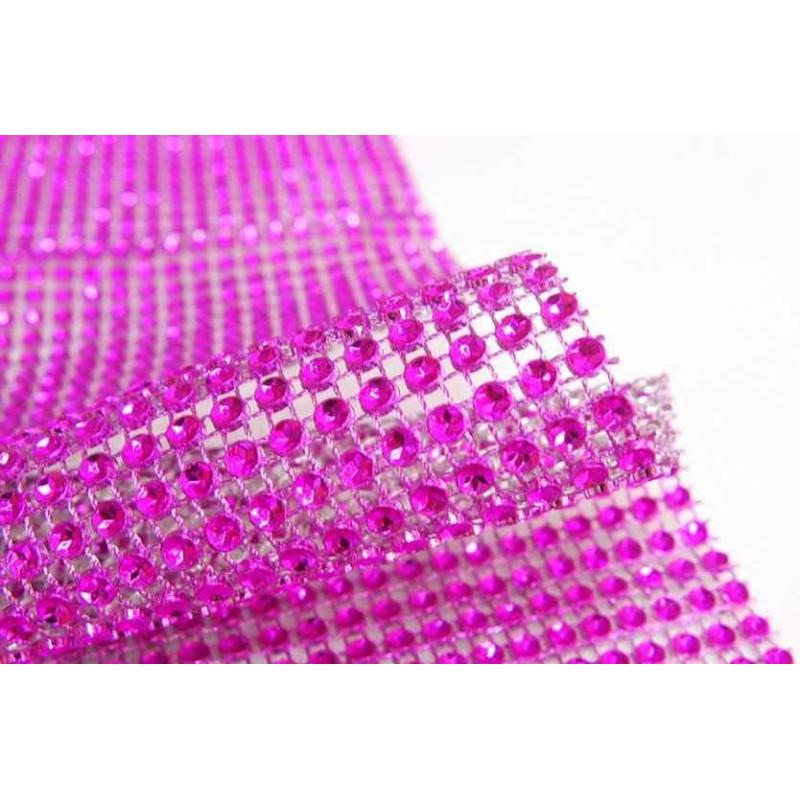 ROSE FUCHSIA rhinestone ribbon 12cm x 1m