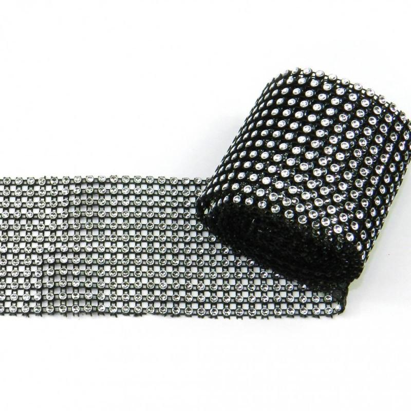 Cinta de strass negro y plata 12cm x 1m