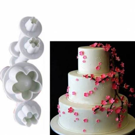 Set of 4 cutters with pushbutton FLOWERS PME