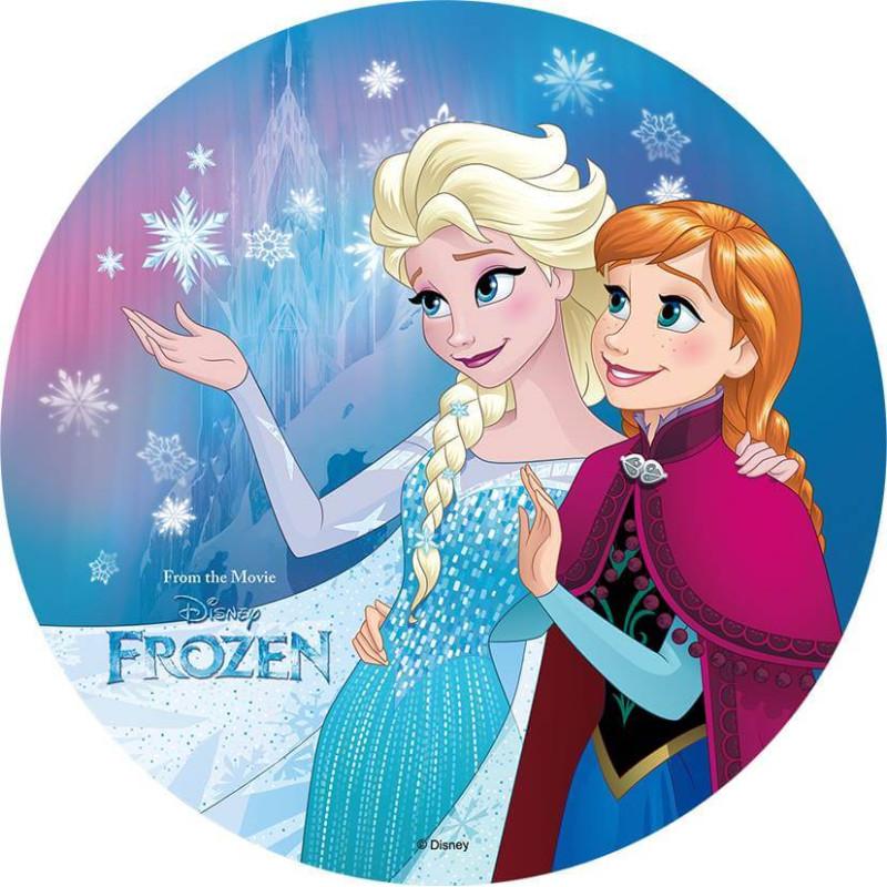 Edible wafer disc FROZEN - Elsa and Anna complicit