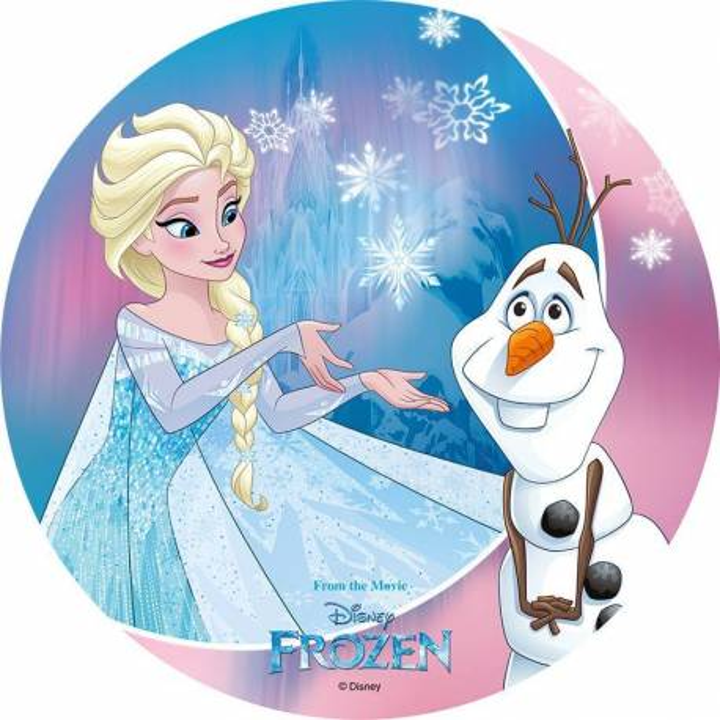 Disco en papel de oblea FROZEN - Elsa y Olaf