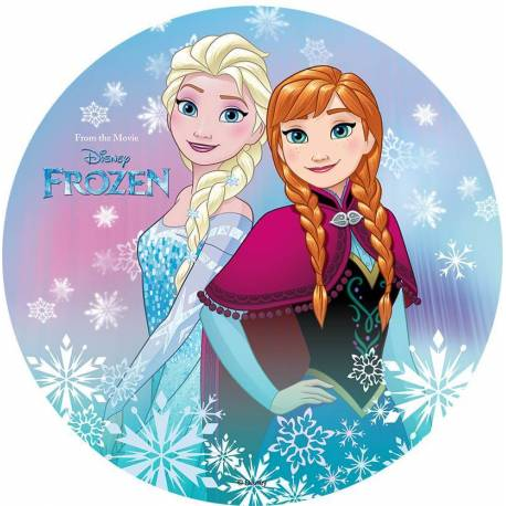 Edible wafer disc FROZEN - Elsa and Anna back to back