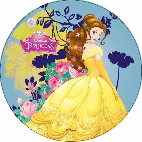 Wafer disc Princess BELLE yellow and blue background
