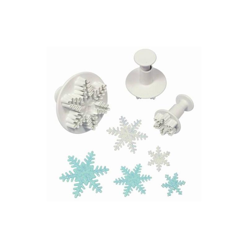 3 emporte-pièces à poussoir flocon de neige PME