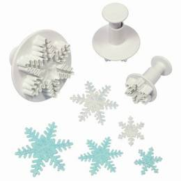 Set of 3 Snowflake plunger cutters PME