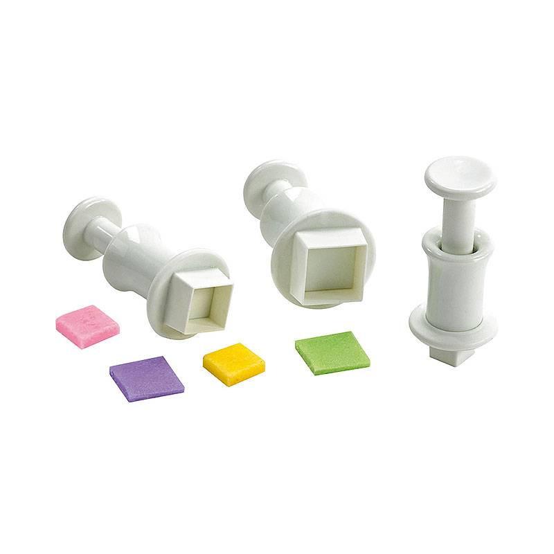 3 emporte-pièces à poussoir forme carré