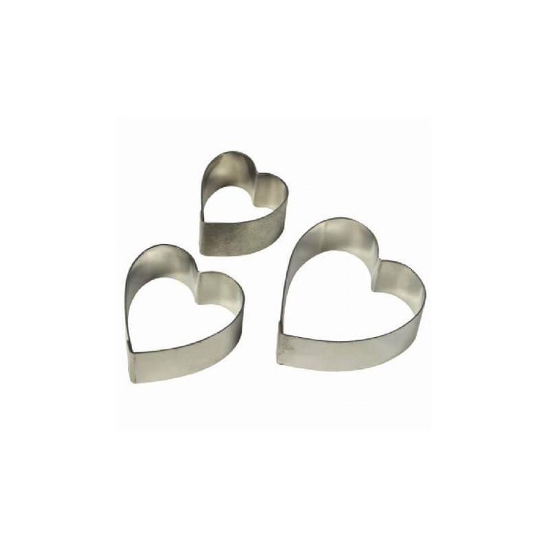 3 Découpoirs Coeur en métal
