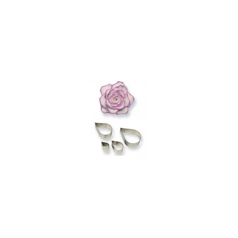 4 cortadores de metal Pétalos de rosa PME
